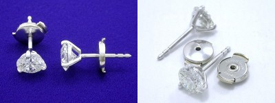 Round Brilliant Cut Earrings: 1.27 tcw in 3-Prong Martini-Style Mountings with Clutch Backs