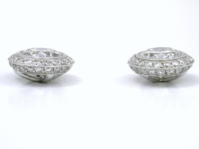 Round Brilliant Earrings: 1.31 tcw in Bezel-Set Bez Ambar 0.36 tcw Pave Knife-edge Mountings with Clutch Backs
