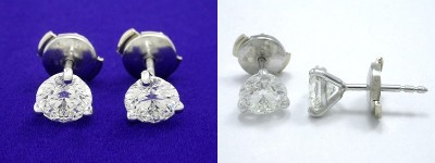 Round Brilliant Earrings: 1.34 tcw 3-prong Mountings with Clutch Backs