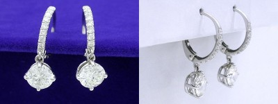 Round Brilliant Earrings: 1.43 tcw in Dangle Mountings and 0.17 tcw Pave Lever Backs