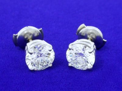 2.02 Total Carat Weight Round Diamond Earrings