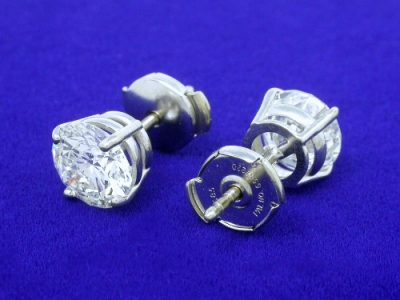 Round Diamond Earrings with 4-Prong Basket Heads and Clutch Style Backs