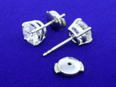 Diamond Earrings with 2.02 Total Carat Weight in 14-Karat White-Gold Mountings