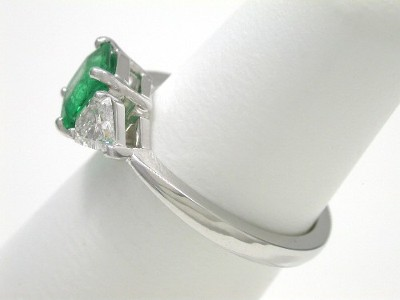Emerald Cut Emerald Ring: 0.93 carat with 0.52 tcw Brilliant Cut Kite Diamonds