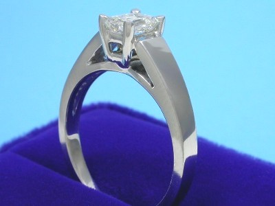 Emerald Cut Diamond Ring: 0.72 carat with 1.38 ratio in Leo Ingwer Cathedral Style Mounting