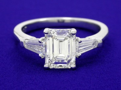 Emerald Cut Diamond Ring with Tapered Baguettes