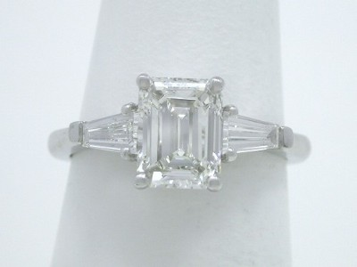 Emerald Cut and Tapered Baguette Diamond Ring