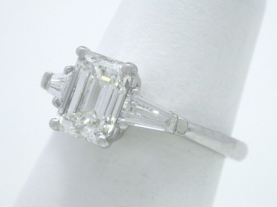 Emerald Cut and Tapered Baguette Diamond Engagement Ring