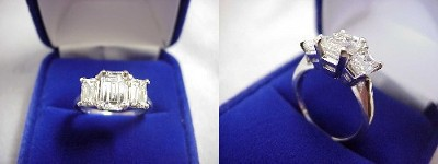Emerald Cut Diamond Ring: 1.18 carat with 1.51 ratio in 0.99 tcw Emerald Three Stone mounting