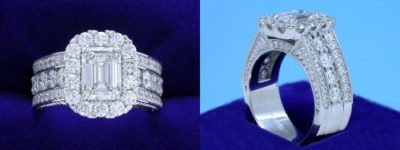 Emerald Cut Diamond Ring: 1.20 carat with 1.35 ratio and 1.42 tcw Round Diamonds