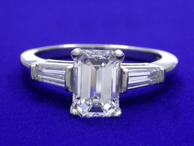 1.27 carat emerald cut diamond graded G color, VS1 clarity