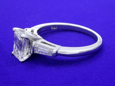 Diamond ring with 1.27 carat emerald cut diamond