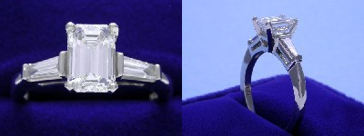 Emerald Cut Diamond Ring: 1.27 carat with 1.50 ratio in 0.32 tcw Tapered Baguette Three Stone mounting