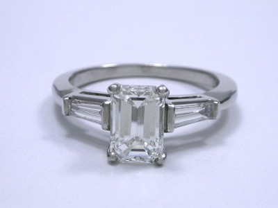 Emerald Cut Diamond with Tapered Baguette Side Diamonds