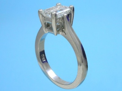 Diamond ring with 1.31 carat emerald cut diamond