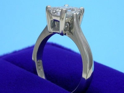 Emerald Cut Diamond Ring: 1.31 carat with 1.40 ratio in Cathedral Style Mounting