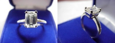 Emerald Cut Diamond Ring: 1.37 carat with 1.51 ratio in Basket style mounting