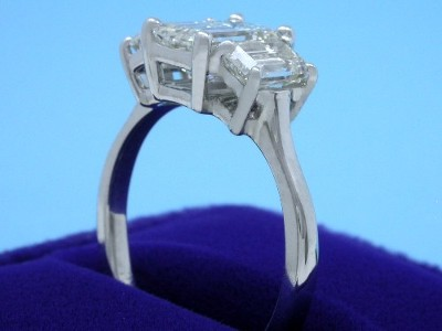 Emerald Cut diamond Ring: 1.50 carat with 1.46 ratio in 1.22 tcw Emerald Diamonds