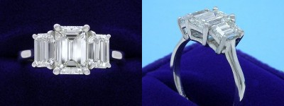 Emerald Cut Diamond Ring: 1.50 carat with 1.46 ratio in 1.22 tcw Emerald Three Stone mounting