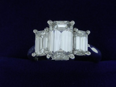 Emerald Cut Diamond Ring: 1.59 carat with 1.02 tcw Side Emerald Cut Diamonds