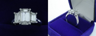 Emerald Cut Diamond Ring: 1.59 carat with 1.66 ratio in 1.02 tcw Emerald Three Stone mounting