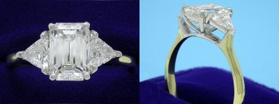 Emerald Cut Diamond Ring: 1.90 carat with 1.44 ratio in 0.70 tcw Trillion Three Stone mounting