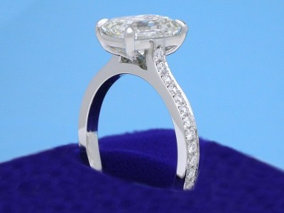 Emerald Cut Diamond Ring: 1.93 carat with 1.42 ratio in 0.24 tcw pave mounting