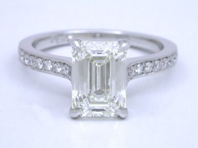 Emerald Cut and Pave Diamond Ring