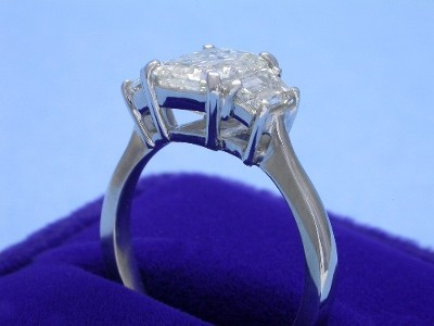 Emerald Cut Diamond Ring: 2.02 carat with 1.36 ratio and 0.83 tcw Step-Cut Trapezoid Diamonds