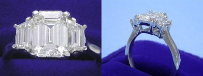 Emerald Cut Diamond Ring: 2.02 carat with 1.36 ratio in 0.83 tcw Step-Cut Trapezoid Three Stone mounting