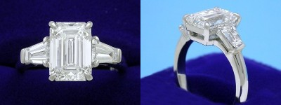 Emerald Cut Diamond Ring: 2.20 carat with 1.43 ratio in 0.64 Tapered Baguette Three Stone mounting