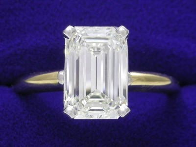 Emerald Cut Diamond Ring: 2.36 carat with 1.50 ratio in yellow gold mounting