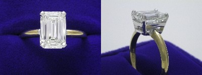 Emerald Cut Diamond Ring: 2.36 carat with 1.50 ratio in Basket style mounting