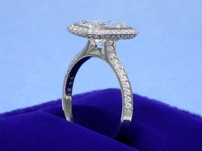 Emerald Cut Diamond Ring: 2.39 carat with 1.59 ratio in 0.54 tcw Bez Ambar pave mounting