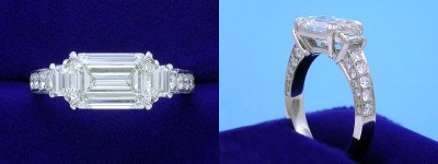 Emerald Cut Diamond Ring: 2.50 carat weight 1.44 ratio in 0.34 tcw Step-Cut Trapezoid and 0.56 tcw pave Three Stone mounting