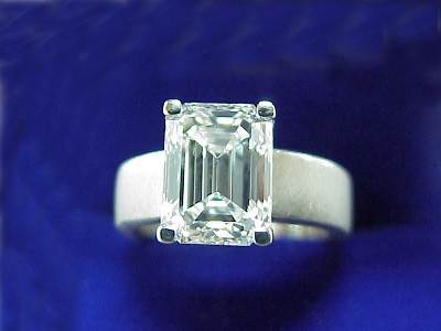 Emerald Cut Diamond Ring 2 54 Carat In Brushed Platinum