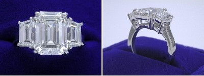 Emerald Cut Diamond Ring: 4.30 carat with 1.35 ratio in 2.03 tcw Step-Cut Trapezoid Three Stone mounting