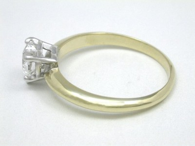 14-Karat Yellow-Gold Ring with 5-Prong White-Gold Basket-Style Mounting