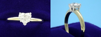 Heart Shaped Diamond Ring: 0.75 carat with 0.86 ratio in 5-Prong Basket-Style Mounting