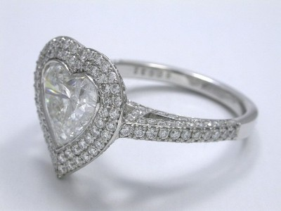Diamond ring with 2.10-carat heart brilliant cut diamond