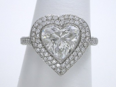 Heart Cut Diamond Ring with Bez Ambar Pave-Set Mounting
