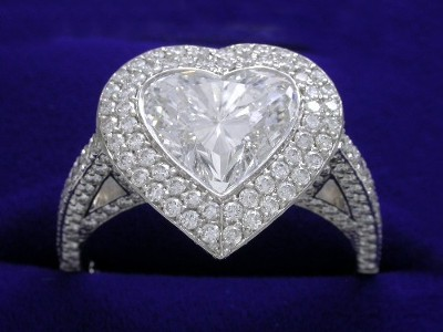 Heart Shaped Diamond Ring: 2.10 carat with 0.94 ratio in Bez Ambar 1.15 tcw pave mounting