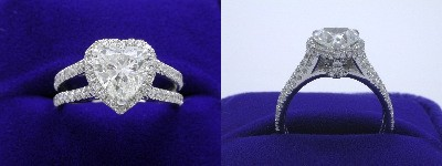 Heart Shaped Diamond Ring: 1.50 carat with 1.01 ratio in 0.95 tcw pave Split Shank mounting