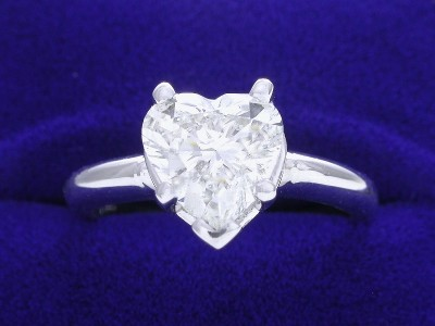 Heart Shaped Diamond Ring: 1.50 carat in 5-Prong Basket Mounting
