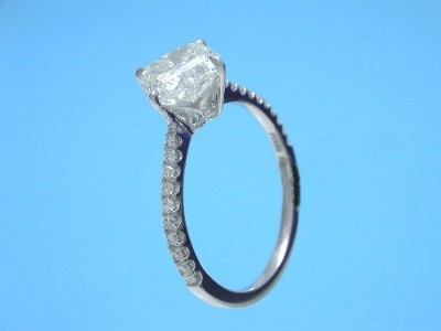 Lily Cut Diamond Ring: 2.01 carat I SI1 in 0.20 tcw Pave Mounting