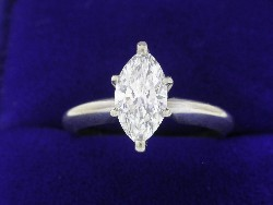 0.79 carat Marquise Shaped diamond graded G color, SI1 clarity in 14-karat white gold mounting