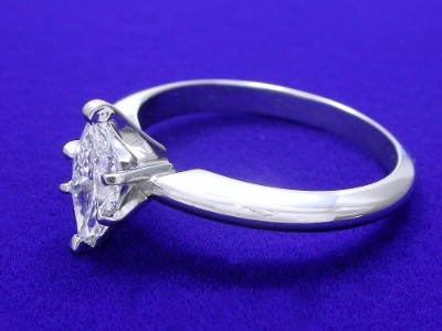 Marquise set in platinum six-prong Solitaire style mounting