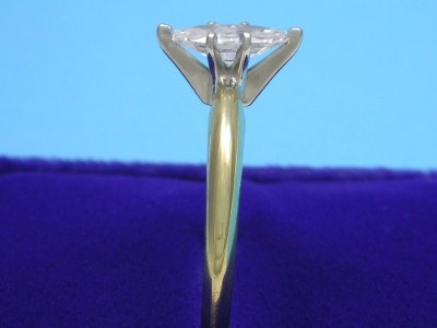 Diamond ring with 0.52 carat marquise brilliant diamond