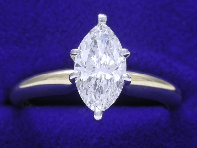 Marquise Cut Diamond Ring: 0.79 carat in 6-prong Solitaire style mounting