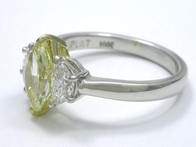 Marquise and Crescent Three Stone Diamond Ring